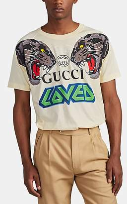 """Gucci Men's """"Loved"""" Tiger Cotton T-Shirt - Gray"""