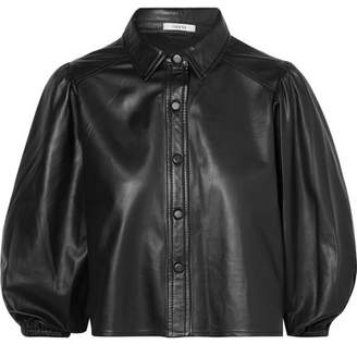 Ganni Rhinehart Leather Shirt - Black