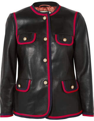 Gucci Grosgrain-trimmed Leather Jacket