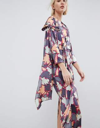 Asos Printed Silk Twist Tie Dress