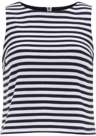Dorothy Perkins Navy and White Waffle Crop Shell Top
