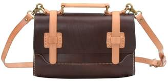 EAZO - Contrast Leather Straps Satchel Bag In Dark Brown