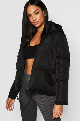 boohoo Tall Hooded Crop Padded Jacket