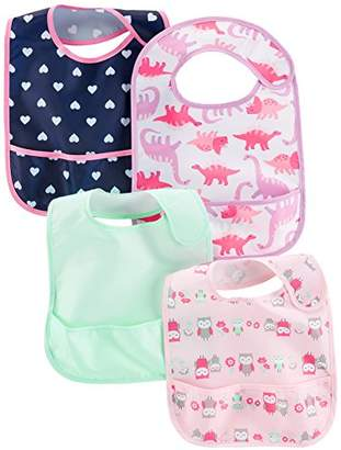 Carter's Simple Joys by Baby Girls' 4-Pack Feeder Bibs