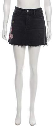 GRLFRND Eva Floral Embroidered Denim Skirt