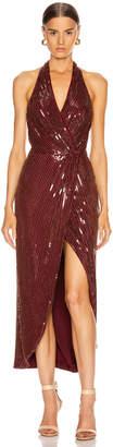HANEY Aurora Sequin Dress in Garnet & Gold   FWRD