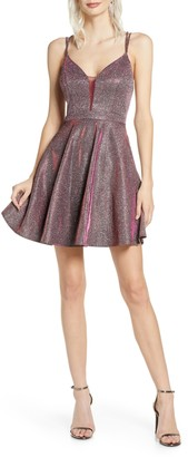 Sequin Hearts Iridescent Fit & Flare Dress