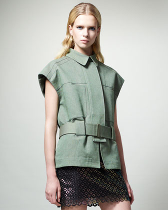 Stella McCartney Belted Cap-Sleeve Jacket
