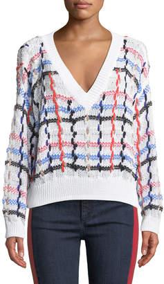 Rag & Bone Lloyd V-Neck Multicolor Chunky Knit Sweater