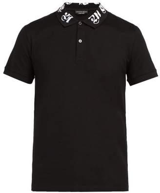 Alexander McQueen Logo Embroidered Cotton Polo Shirt - Mens - Black