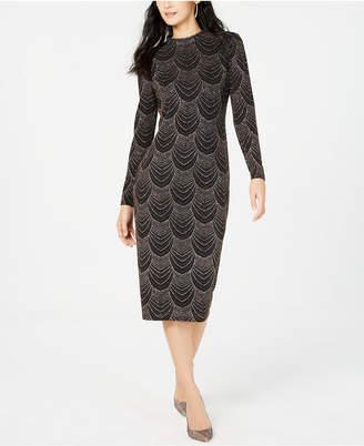 Nine West Embellished Mock-Neck Midi Dress