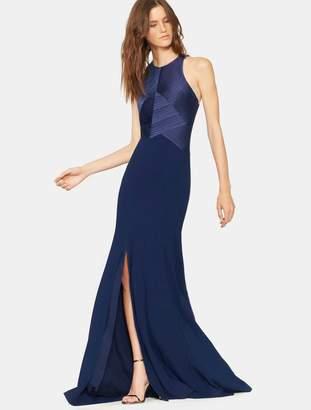 Halston Satin Strips Gown
