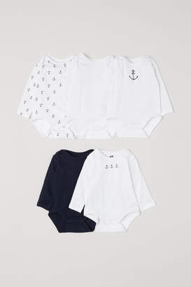 H&M 5-pack Bodysuits with Motif - Blue