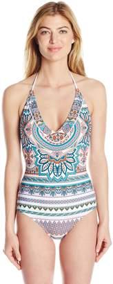 Jessica Simpson Women's Versailles Lace Back Maillot One-Piece Swimsuit