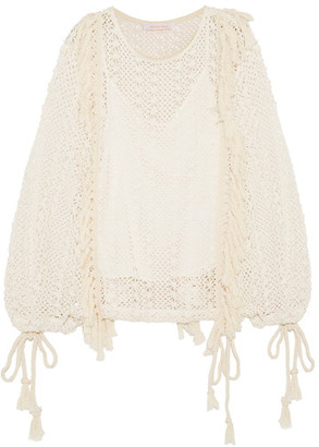 See by Chloé - Tasseled Macramé Top - Off-white $365 thestylecure.com
