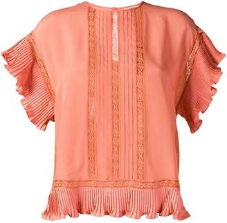 Twin-Set lace insert half sleeve top