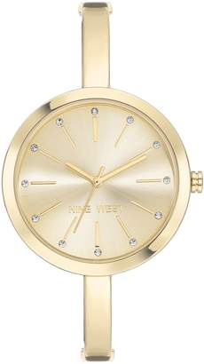 Nine West Women's Goldtone Crystal Bangle Watch