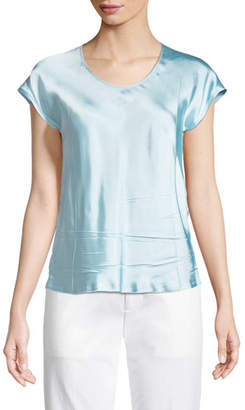 Helmut Lang Scoop-Neck Cap-Sleeve Satin Top