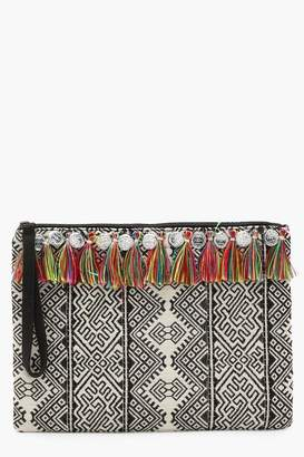 boohoo Multi Tassel And Coin Woven Clutch