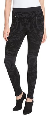 Ralph Lauren Collection Baroque Velvet Devore Moto Leggings, Black $1,490 thestylecure.com