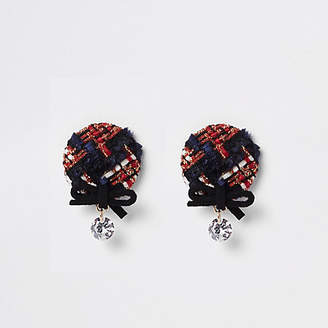 River Island Red check bow and rhinestone stud earrings
