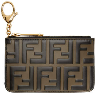 Fendi Brown and Black Forever Key Ring Card Holder