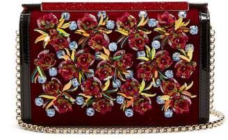 Christian Louboutin Vanite flower-embroidered velvet clutch