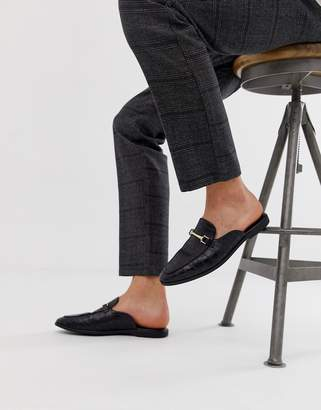 76f9b794019 Asos Design DESIGN backless mule loafer in black faux leather with croc  effect