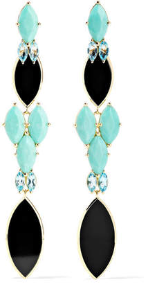 Ippolita Polished Rock Candy 18-karat Gold Multi-stone Earrings - Turquoise