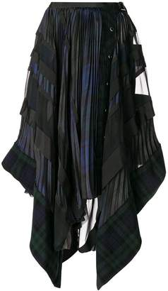 Sacai pleated checked asymmetric skirt