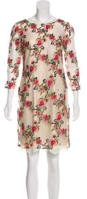 Marchesa Mesh Knee-Length Dress