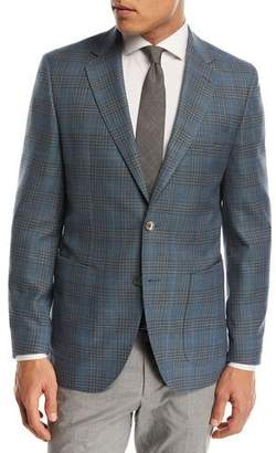 BOSS Janson Plaid Wool Sport Coat, Teal/Taupe
