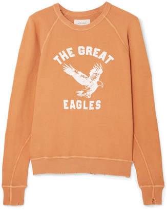 The Great The College Distressed Printed Cotton-jersey Sweatshirt - Saffron