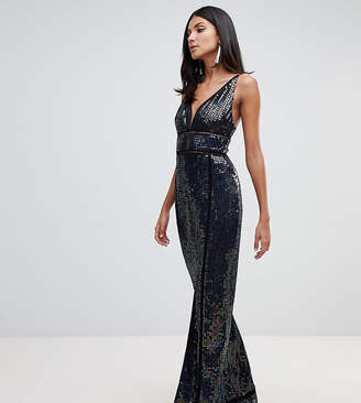 Asos Tall DESIGN Tall sequin maxi dress with ladder trim
