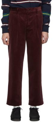Noah NYC Burgundy Corduroy Double-Pleat Trousers