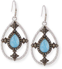 Armenta New World Blue Quartz Triplet Shield Drop Earrings with Diamonds