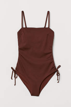 H&M Gathered Swimsuit - Beige