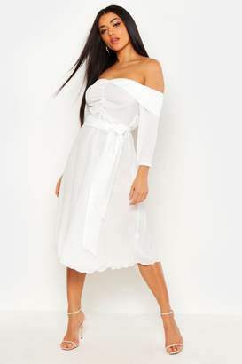 boohoo Ruched Off Shoulder Tie Detail Midi Skater Dress