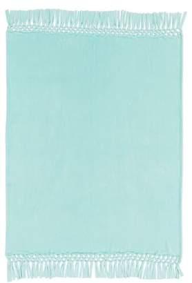 Pottery Barn Teen Plush Bohemian Fringe Throw, 46X56, Faint Blue