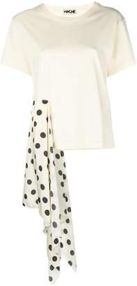 Hache polka dot draped detail T-shirt