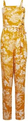 Dorothy Perkins Womens Yellow Palm Print Jumpsuit
