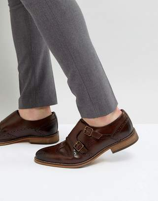 Asos Design Monk Shoes In Brown Leather With Brogue Detail