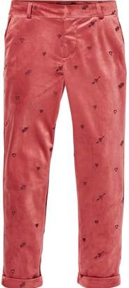 Scotch & Soda Embroidered Velvet Trousers