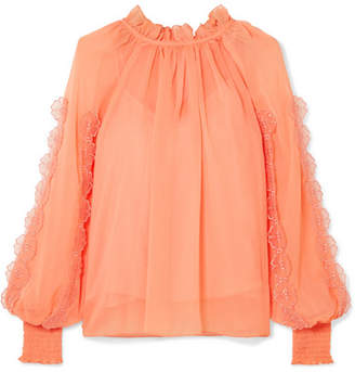 See by Chloe Shirred Appliquéd Chiffon Blouse - Orange