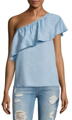 7 For All Mankind One Shoulder Chambray Blouse $139 thestylecure.com