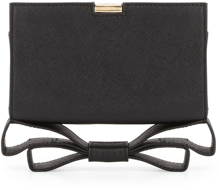 Z Spoke Zac Posen Milla Small Frame Saffiano Bow Clutch Bag, Black