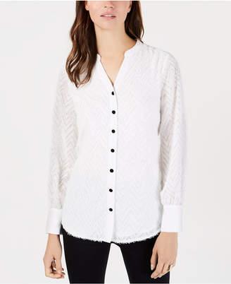Alfani Fringed Split-Neckline Shirt, Created for Macy's