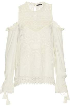 Love Sam Shang Hai Cold-Shoulder Crochet-Paneled Embroidered Gauze Blouse