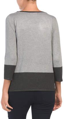 Three-quarter Sleeve Color Block Sweater