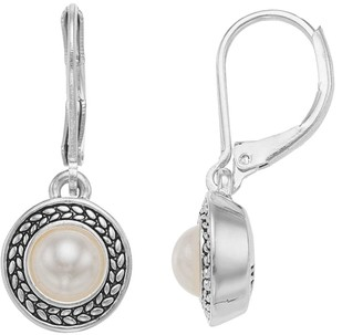 Napier Simulated Pearl Halo Drop Earrings